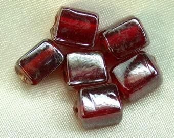 Vintage CZECH Glass Beads Garnet Red Iridescent 8mm pkg6 gl97