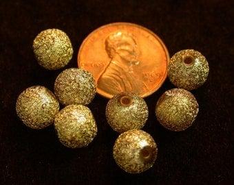 Vintage GLITTER Lucite Beads Gold Silver 8mm pkg8 res135