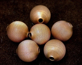 Vintage COPPER Etched Round Beads 11mm pkg 6 m9