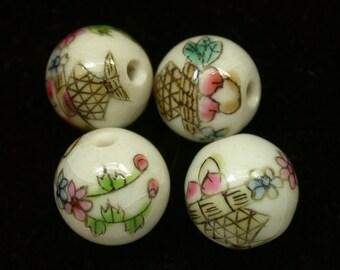Vintage Chinese Porcelain Beads PEACHES Fruit BASKET 12mm pkg4 por29