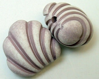 Vintage Italian Purple White Shell Shape Lucite Focal Beads 21mm pkg2 res330