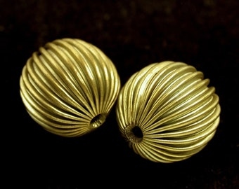 Vintage Metal Beads RAW BRASS RIBBED 19.5mm pkg2 m5