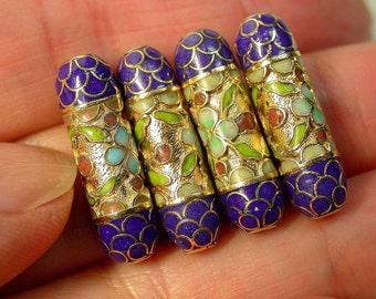Vintage Cloisonne Beads Chinese LAPIS BLUE Gold Oblong 22mm pkg4 clo37