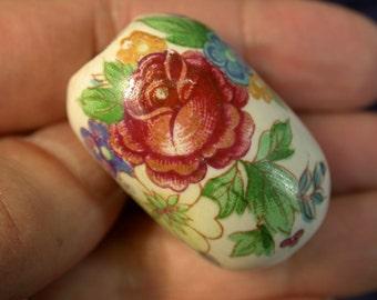 VINTAGE Porcelain BEAD Barrel Shape Floral Rose FOCAL 34x22mm pkg 1 por227