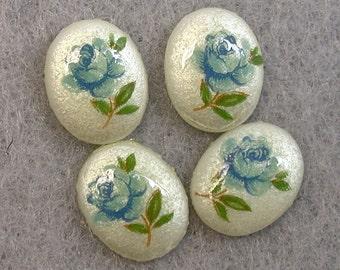 Vintage Porcelain Limoge Cabochon Japanese White Oval BLUE ROSE TENSHA 10mm  pkg6 por206