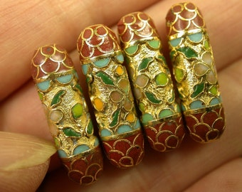 Vintage Champleve Cloisonné Beads Cinnabar Red Raised Gold 22mm pkg 4 clo69
