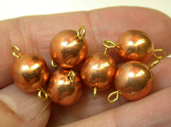 Vintage Metal Beads JAPANESE COPPER BRASS dangle 10mm pkg6 m55