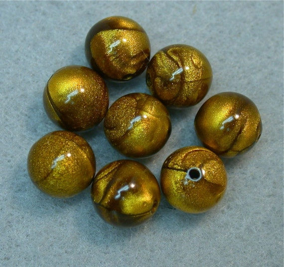 Vintage LUCITE TIGEREYE Gold PICASSO Beads 9mm pkg 8 res419