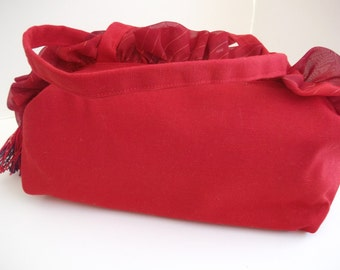 Red Canvas Purse , Over Shoulder Bag , Ruffle Purse , Womens Handmade Handbags , Holiday Handbag , Gifts under 50 , Under 40 , Gift For Her