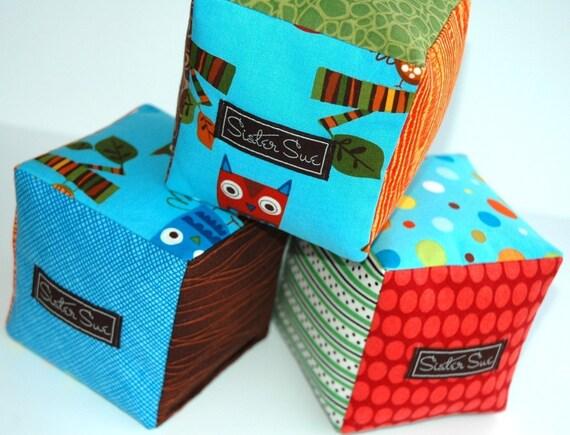 Who Gives a Hoot (Boy) Cloth Play Blocks (Set of 3)
