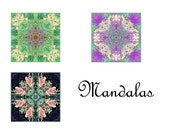 3 Garden Mandala Photo Cards, Kaleidoscope, Blank Greeting Cards, New Age