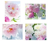 Peony Photo Cards, Four Blank Cards, Peony  Card Set, Greeting Card Set, Mothers Day Gift