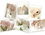 Greeting Card Set, Six  Flower Cards, Blank Cards, Sepia, Peony, Tulip, Poppy Cards
