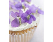 Kitchen Decor, Violets Cupcake Photograph, Food Photography, Still Life,  Shabby Chic Home
