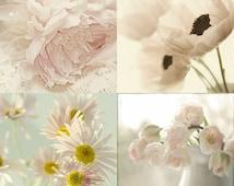 Cottage Chic Wall Decor, Flower Photographs Set, FloralArt Print Set,  Still Life Photography, Peony, Tulip, Poppy, Daisy, Pink Decor