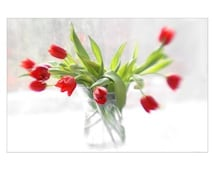 Red Tulips Holiday Card, Christmas Card, Blank Card, Photo Card, Floral Greeting Card, Flower Card