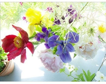 Blue Iris Bouquet Photo Card, Floral Card, Flower Card, Blank Card, Greeting Card