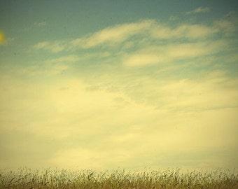 Cloud Photography, Sky Print, Landscape Photograph,  Turquoise White Wall Art, Rustic Decor
