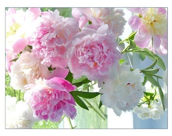 Peony Card, Mother's Day Card,  Photo Card, Blank Flower Greeting Card, Pink Peony