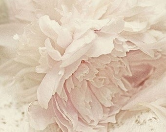 Peony Photograph, Floral Art Print, Shabby Chic Wall Decor, French Country, Monochromatic Pink