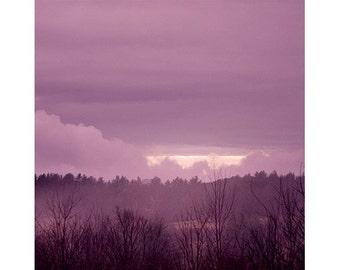 Vermont Sunset Landscape Photography, Purple Wall Decor, Rustic Decor, Dreamy Photo, Fine Art Print