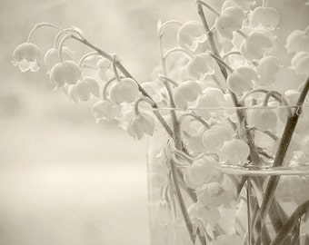Lily of the Valley,  Sepia Flower Photography, Botanical Art, Shabby Chic Wall Decor, Flower Wall Art, Floral Decor