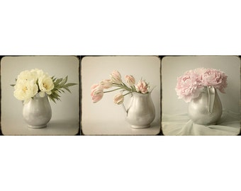 Still Life Print Set, Flower Bouquet Photo Set, Vintage Inspired Art, Floral Art  Prints, Bedroom Art,  Peony Art, Tulip Wall Decor