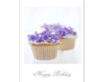 Cupcake Birthday Card, Cupcake Photo Card, Violet Flower Card
