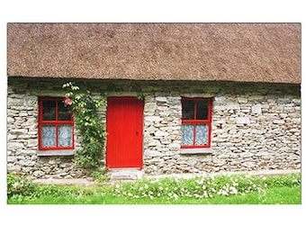 Irish Cottage Photo Card,  St. Patrick's Day Card, Thatched Roof Farmhouse in Ireland
