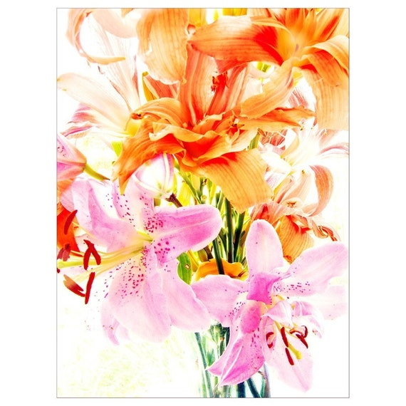 Lily Photo Card, Pink and Orange Lily Bouquet, Fine Art Greeting  Card, Flower Photography, Holiday Card
