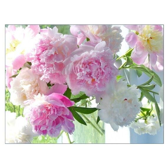 Peony Photograph, Flower Bouquet Still Life,  Floral Art Print, Peony Wall Decor, Flower Home Decor