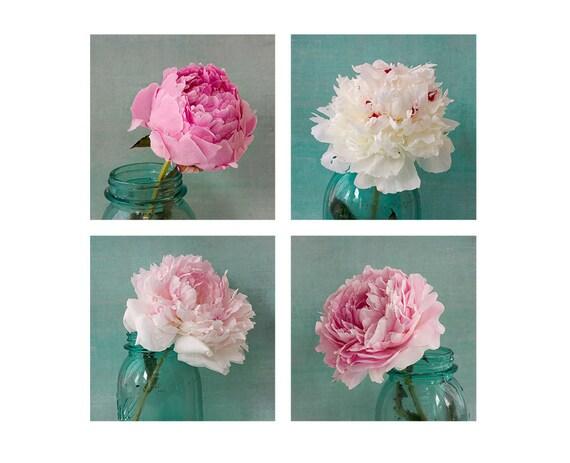 Four Peony Art Print Set, Pink Aqua Wall Decor, Nature Photography, Floral Art Print, Flower Still Life Photos, Botanical Print Set
