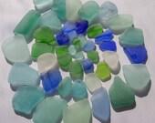 A Lot of Blue Green Sea Glass, Seaglass, Beach Glass - Craft Quality