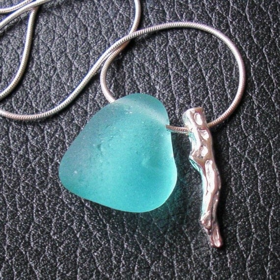 SALE - Turquoise English Seaglass and Sterling Silver Coral Branch Necklace