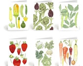 Farm Fresh Spring Vegetables -  6 assorted greeting cards