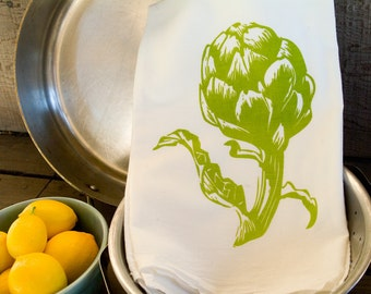 Flour Sack Kitchen Towel: Artichoke
