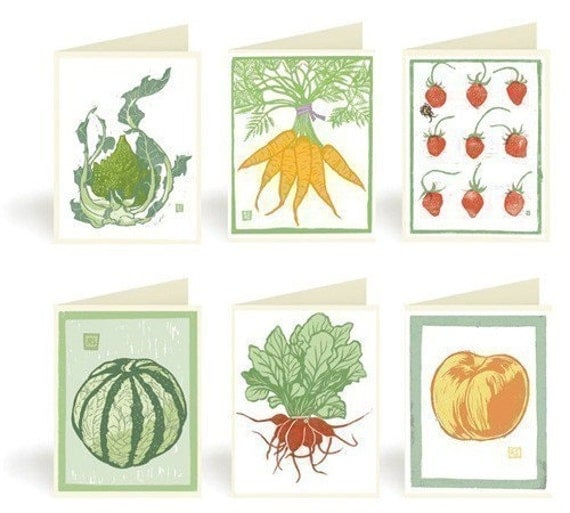 Vegetable and Fruit Block Print Notecards, Pack 2