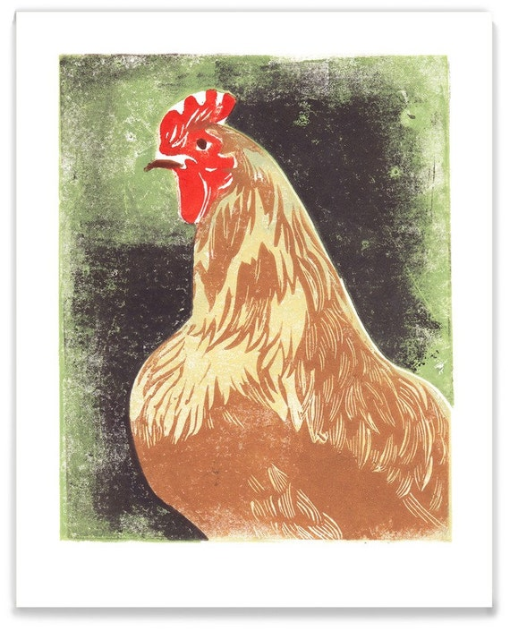 Betty the Hen Block Print Art Reproduction