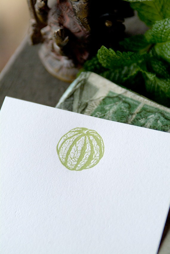 Green French Melon Letterpressed Flat Panel Card Set (6 cards)