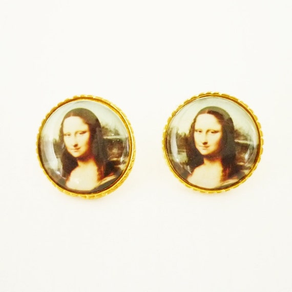 FREE SHIPPING - Stud Earrings Gold plated with Monalisa Smile Paint Design - Gift Under 10 - Monalisa Earrings