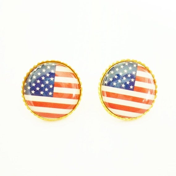 FREE SHIPPING - Stud Earrings Gold Plated with American Flag Design 2 - Gift Under 10 - Flag Jewelry
