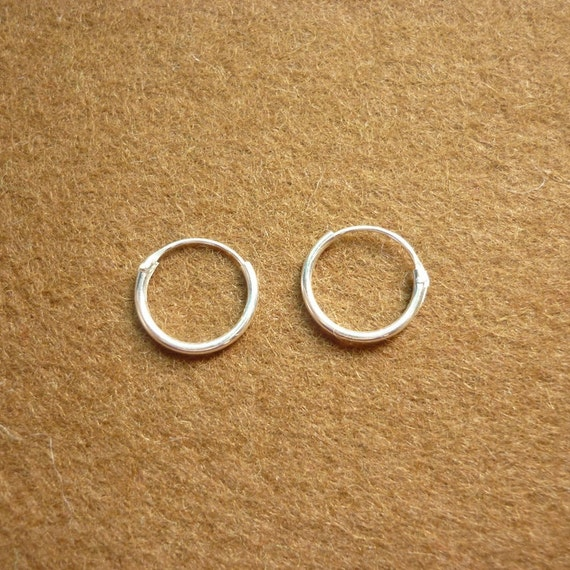 Reserve for Ali - 11 pieces of 12 mm Small Hoop 925 Sterling Silver Hoop Earrings