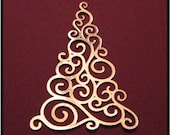 Shining Gold Swirled Christmas Tree Die Cut