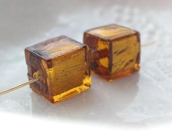 Murano Glass Cube Beads, 10mm
