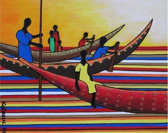 "African Fishermen... original painting, 15.7x15.7"", 40x40 cm, acrylic, canvas, fishermen, boats, culture, tradition, fantasy"