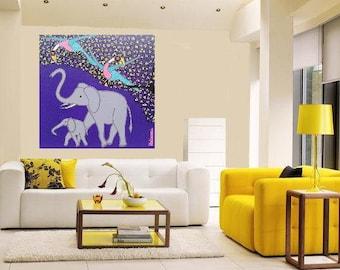 "Tinga Tinga Art - Elephants... original painting, 15.7x15.7"", 40x40 cm, acrylic, wood, africa, tinga tinga art, culture, tradition, fantasy"