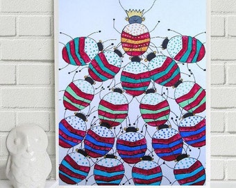 """Homage to the Queen of Beetles.... original painting, potatoe print, watercolours on paper, 7,5x9,1"""",19x23 cm, fantasy, beetle, insect"""