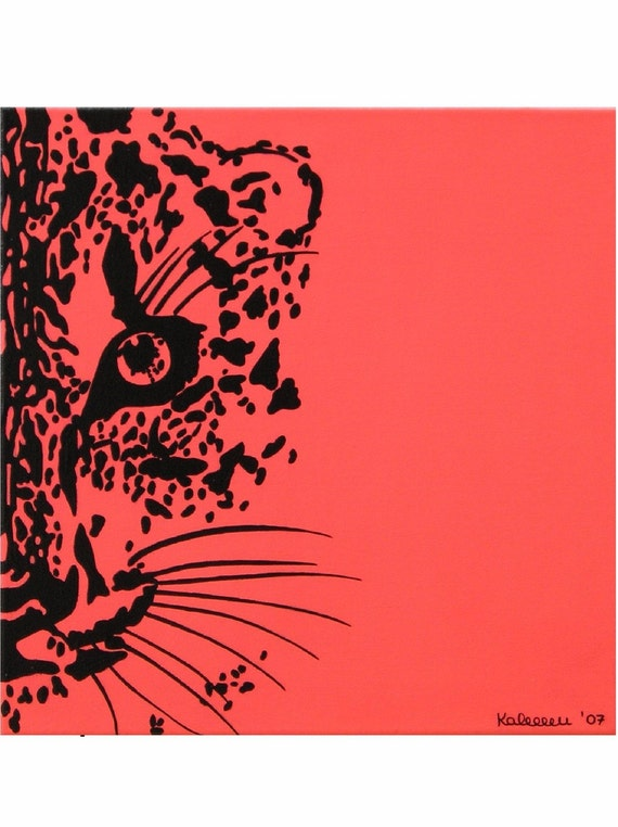 "Leopard... original painting, 15.7x15.7"", 40x40 cm, acrylic, canvas, cat, animal, wildlife, africa, fantasy"