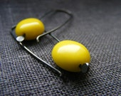 Sterling silver - Vintage glass Earrings - Yellow Days