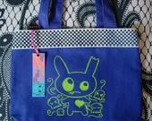 Zombie Bunny Skulls Mini Tote Bag Purple Lime Green